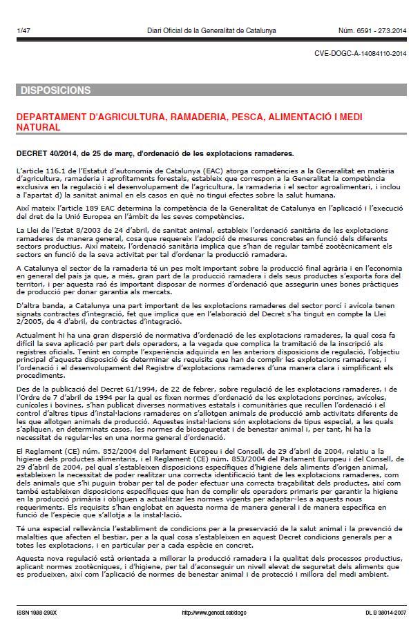Nou decret 40-2014