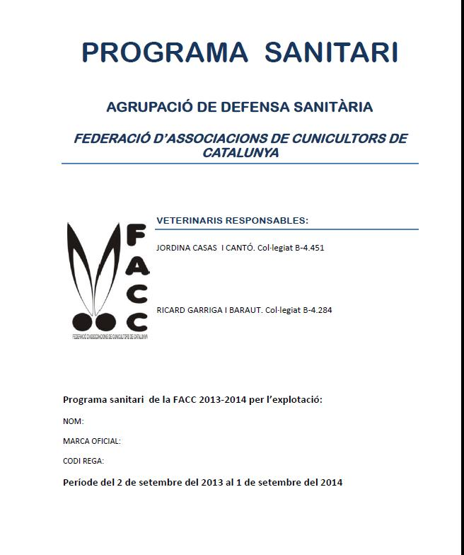 PROGRAMA SANITARI 2013-14